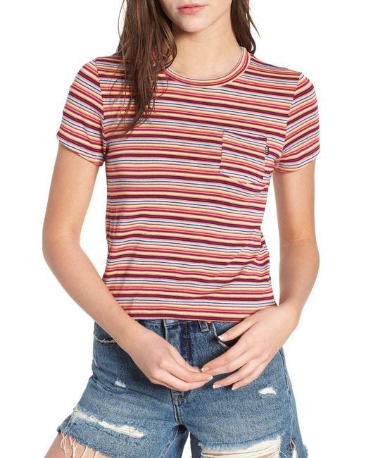 Obey - Red Freeman Stripe Tee - Lyst