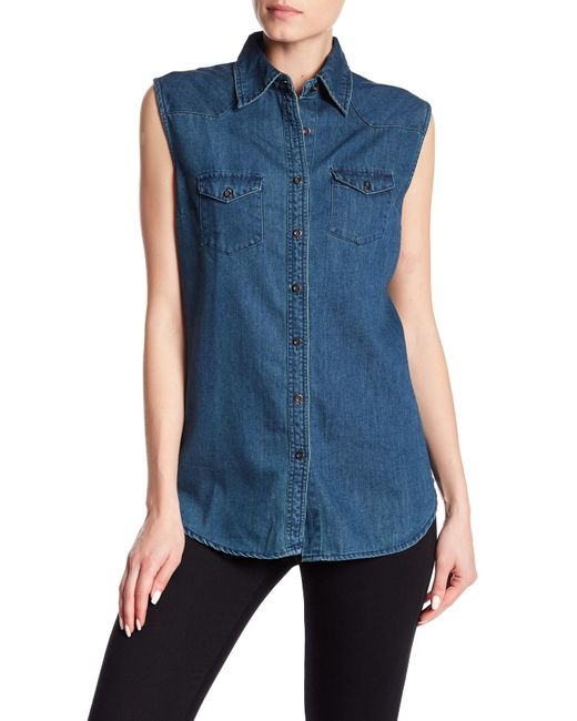 Angie - Blue Sleeveless Denim Vest - Lyst