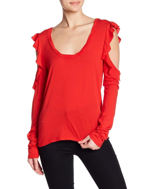 Pam & Gela - Red Long Sleeve Drapey Cold Shoulder Tee - Lyst