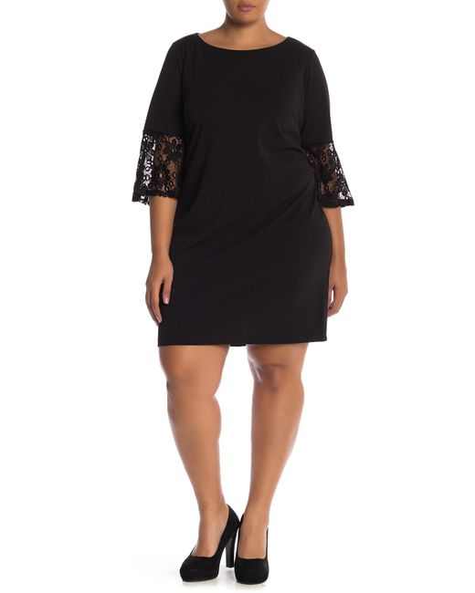 Lyst - Sharagano Lace Bell Sleeve Dress (plus Size) in Black