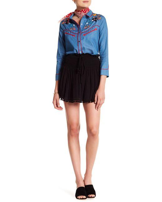 English Factory - Black Shirred Pompom Mini Skirt - Lyst