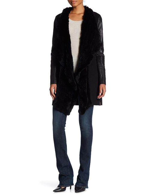 Rudsak | Black Wool Blend Coat With Genuine Rabbit Fur Trim | Lyst