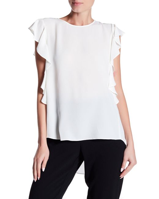 Cece by Cynthia Steffe | White Sleeveless Cascading Ruffle Textured Top | Lyst