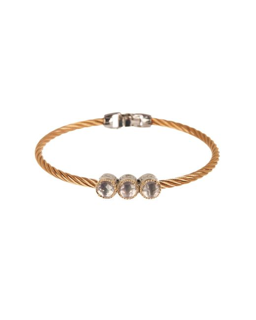 Alor - Metallic 18k Gold 3-stone White Topaz Twisted Cable Bangle - Lyst