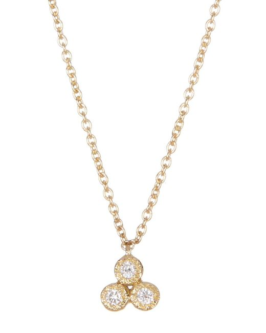 Bony Levy - Metallic 18k Yellow Gold Harlowe 3 Stone Diamond Pendant Necklace - 0.04 Ctw - Lyst
