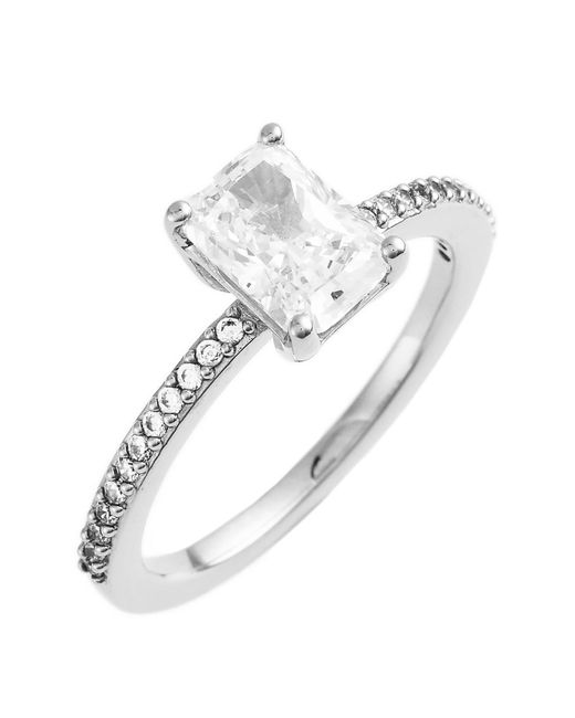 Nadri | Metallic Prong Set Emerald Cut Cz & Pave Ring - Size 6 | Lyst