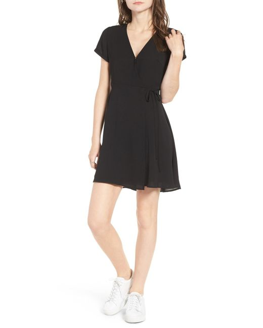 Lush   Black Olivia Wrap Dress   Lyst
