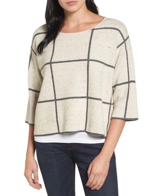 Eileen Fisher - Natural Windowpane Check Boxy Sweater - Lyst