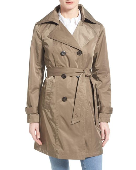 Ellen Tracy | Natural Techno Double Breasted Trench Coat | Lyst