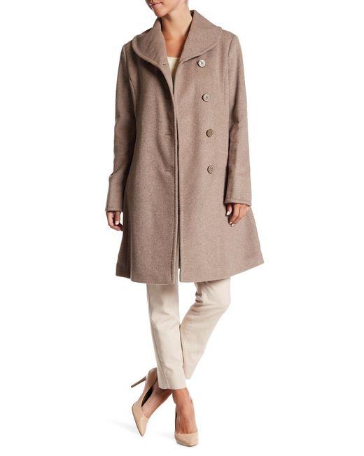 Ellen Tracy   Multicolor Front Button Wool Blend Coat   Lyst