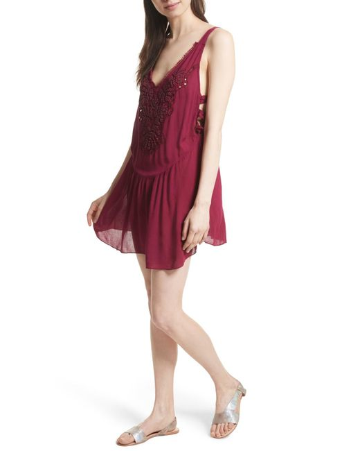 Free People | Red Delphine Embellished Slipdress | Lyst