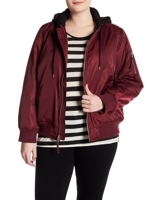 Levi's - Red Hooded Bomber Jacket (plus Size) - Lyst