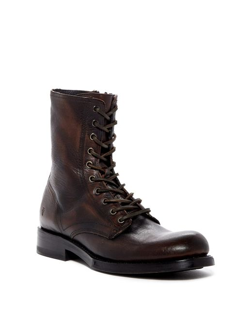 Frye | Brown Folsom Leather Combat Boot for Men | Lyst