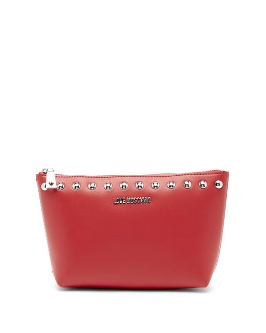 Love Moschino - Red Studded Zip Pouch - Lyst