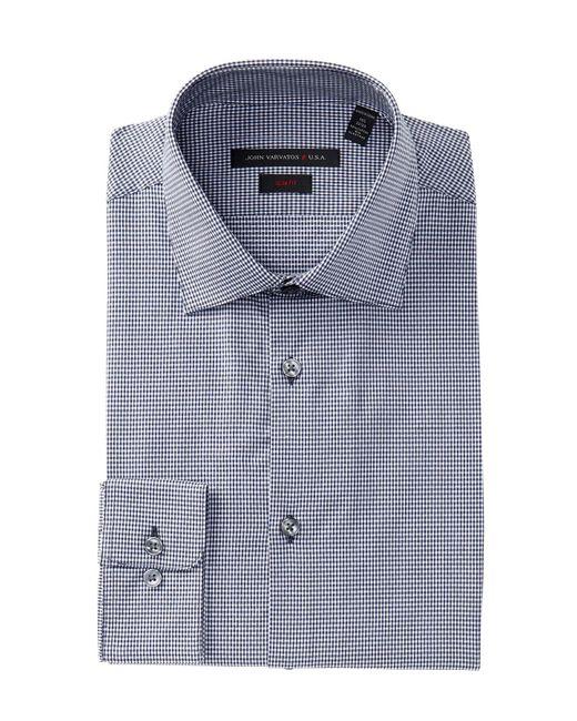 John Varvatos - Blue Soho Mini Gingham Slim Fit Dress Shirt for Men - Lyst