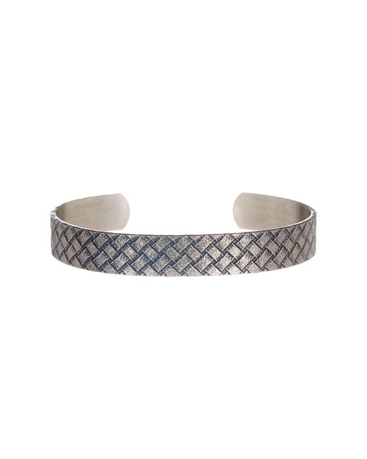 Link Up | Metallic Embossed Basketweave Textured Cuff Bracelet | Lyst