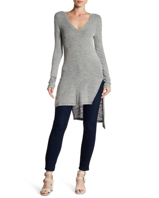 Splendid | Gray Long Perforated V-neck Top | Lyst