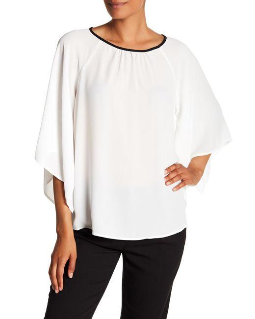 Pleione - White Flutter Sleeve Blouse - Lyst