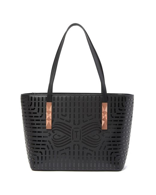 Ted Baker - Black Breeana Cut Out Bow Leather Shopper - Lyst