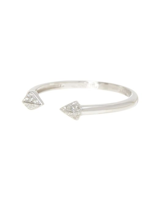 Bony Levy - 18k White Gold Pave Diamond Open Arrow Ring - 0.04 Ctw - Lyst