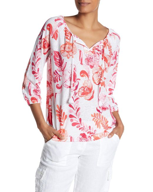 Tommy Bahama   Red Florals Falling Linen Top   Lyst