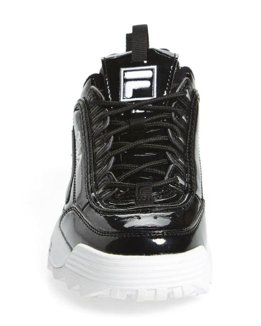 Fila Black Disruptor Ii Premium Patent Sneaker (women)