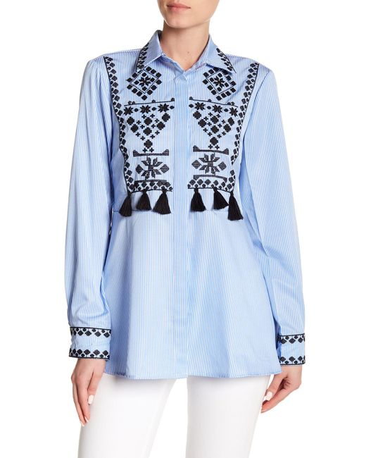 Haute Rogue - Blue Tassel Trim Embroidered Button Down Shirt - Lyst