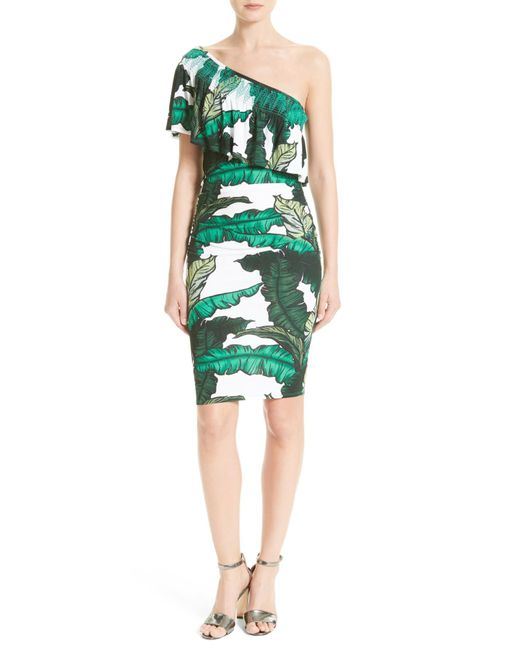 Tracy Reese | Green Print Jersey One-shoulder Flounce Dress | Lyst