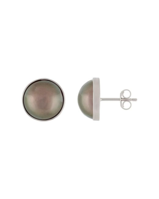 Splendid - Bezel Set 8-9mm Black Tahitian Mabe Pearl Stud Earrings - Lyst