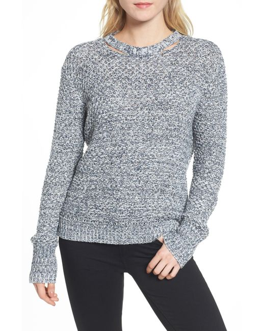 Ella Moss - Blue Melange Open Back Sweater - Lyst
