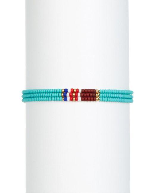 Shashi   Blue 3 Row Beaded Bracelet   Lyst