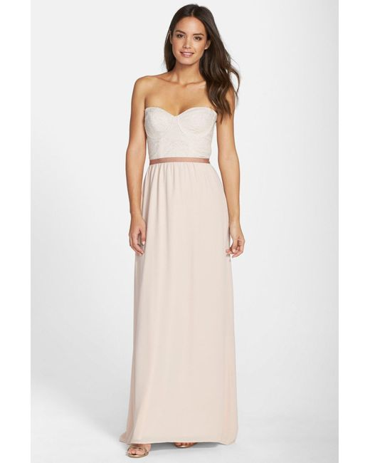 Paper Crown | Metallic 'hannah' Lace Bodice Crepe Gown | Lyst