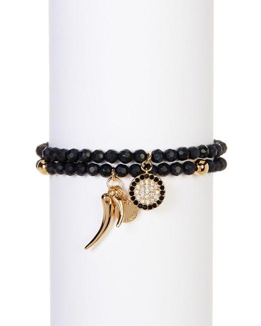 Vince Camuto | Black Stone & Crystal Charm Detail Stretch Bracelet 2-piece Set | Lyst