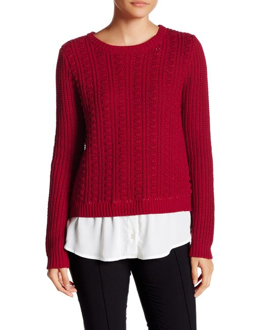 Cable Amp Gauge Knit Shirttail Sweater Twofer In Red Lyst
