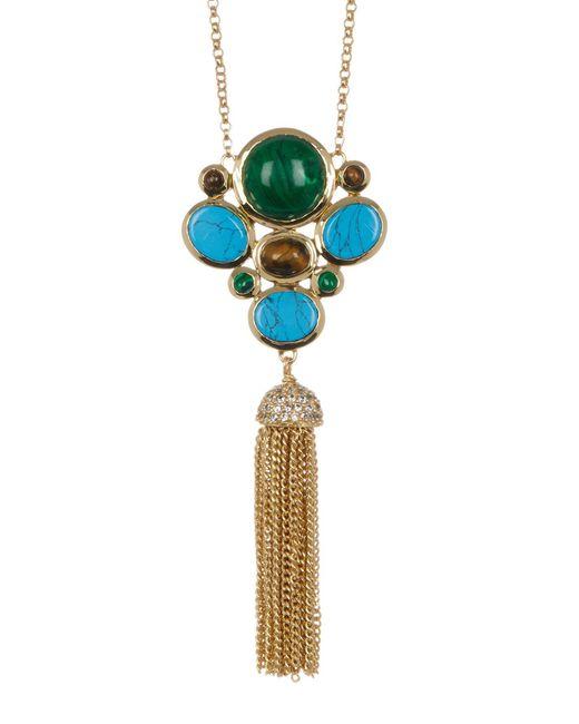 Cole Haan | Metallic Bezel Set Cluster & Tassel Drop Necklace | Lyst