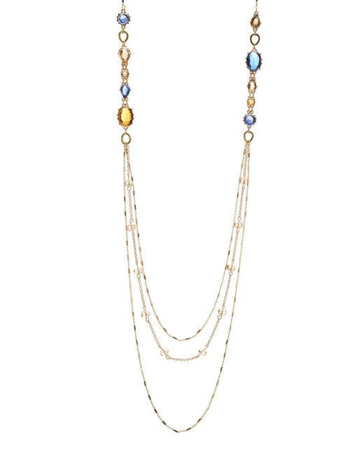Carolee   Metallic Rhinestone Multi-strand Chain Necklace   Lyst