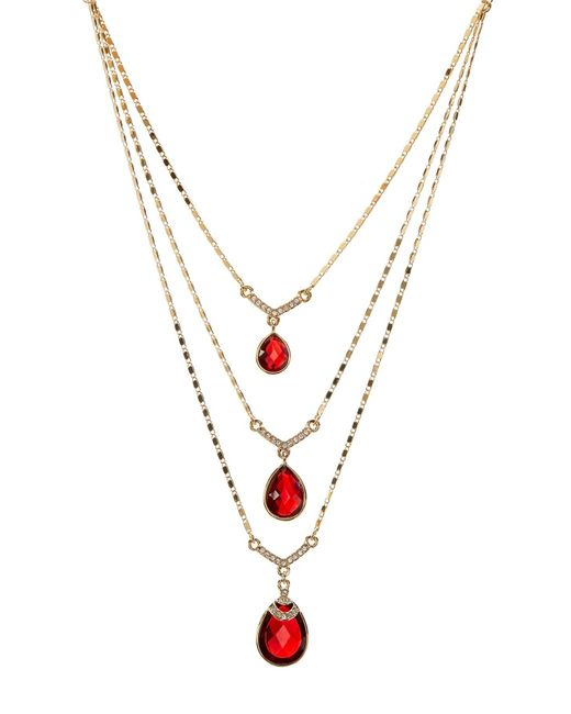 Carolee | Metallic Multi-row Drop Stone Necklace | Lyst