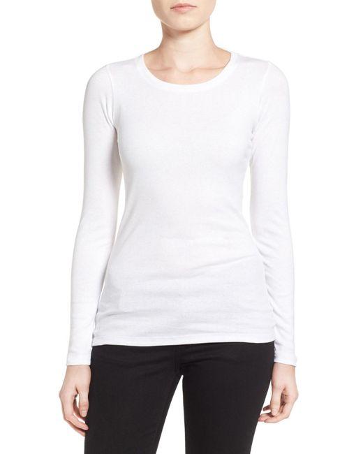 Caslon | White Long Sleeve Crewneck Cotton Tee (petite) | Lyst
