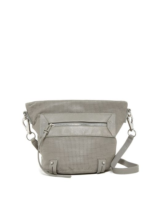 She + Lo | Gray Rise Above Zip Leather Crossbody Bucket Bag | Lyst
