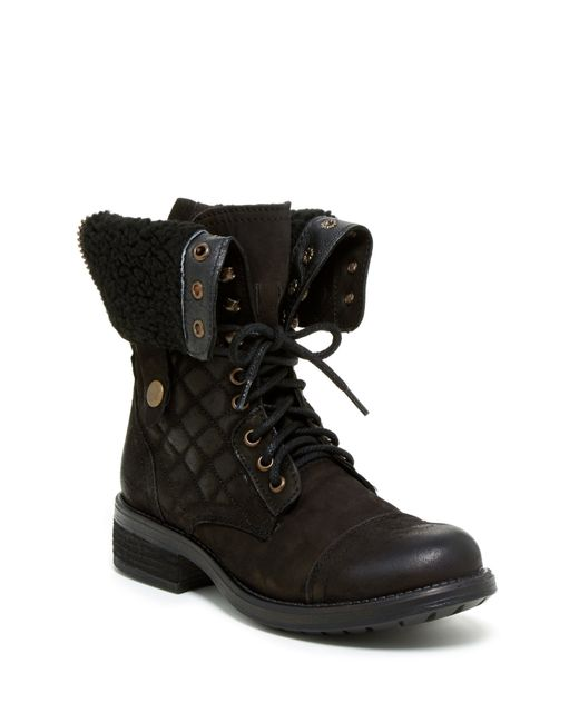 Steve Madden | Black Dublyn Quilted Faux Fur Lined Lace Boot | Lyst