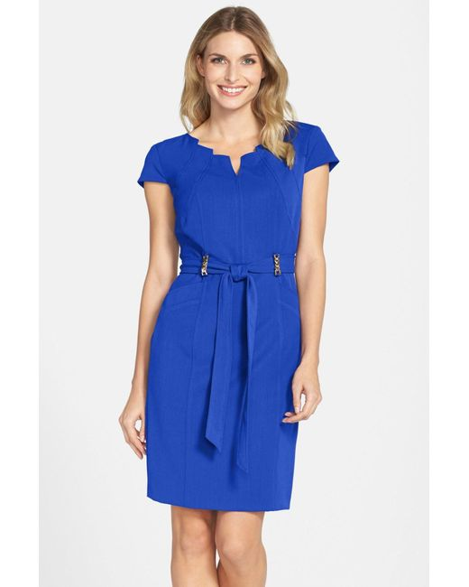 Ellen Tracy | Blue Stretch Sheath Dress (petite) | Lyst