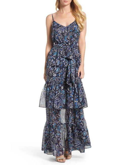 Eliza J | Blue Tiered Maxi Dress | Lyst