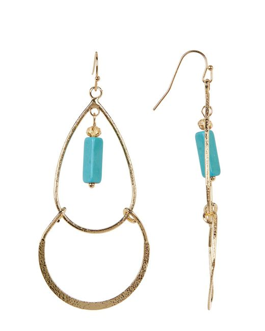 Cara   Multicolor Rectangle Turquoise Charm Dangle Earrings   Lyst