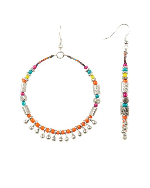 Cara | Multicolor Large Seed Beaded Hoop Earrings | Lyst
