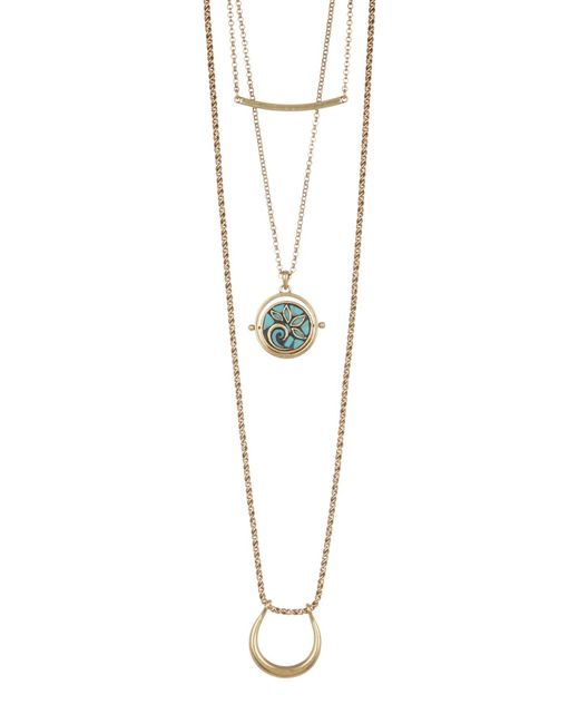 Lucky Brand | Metallic 3-in-1 Mosaic Pendant Necklace | Lyst