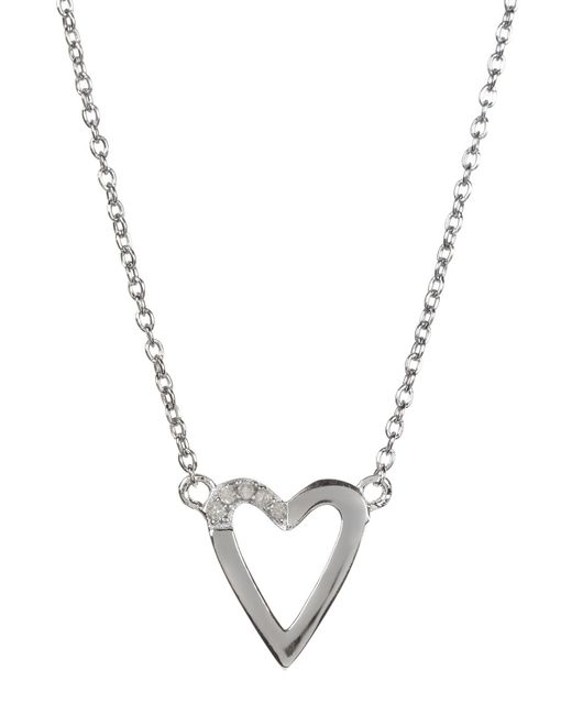 Kenneth Cole | Metallic Sterling Silver Diamond Detail Open Heart Pendant Necklace - 0.08 Ctw | Lyst