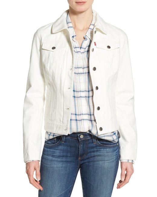 Levi's | White Twill Classic Trucker Jacket | Lyst