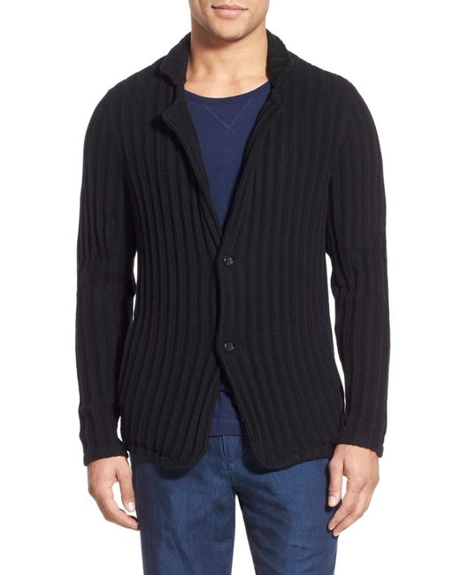 Vince | Black Ribbed Trim Fit Cardigan for Men | Lyst