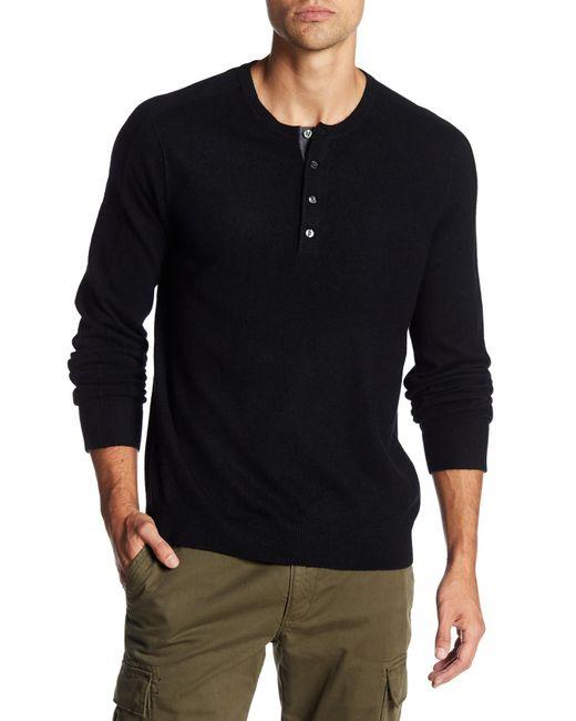 Vince | Black Long Sleeve Cashmere Henley for Men | Lyst