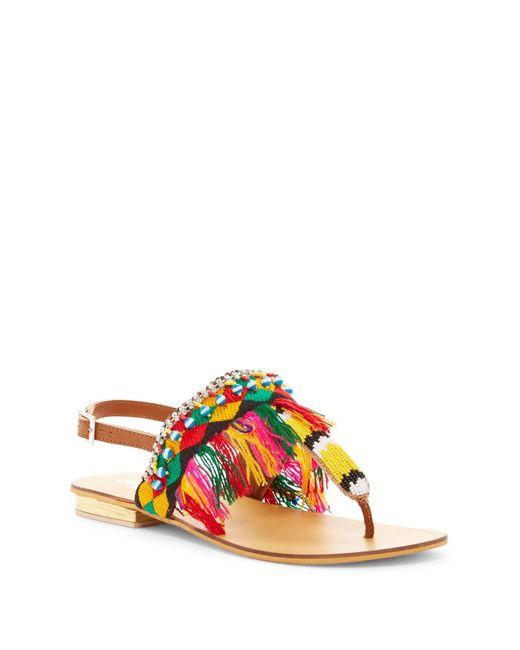 Mia Sara London | Multicolor Embroidery Detail Beaded Sandal | Lyst